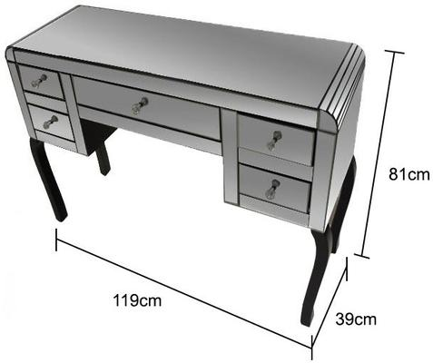 Mirror Dressing Table 5 Drawer Art Deco - Smoked or Clear image 3
