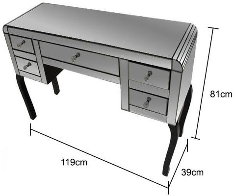 Mirror Dressing Table 5 Drawer Art Deco - Smoked or Clear image 4