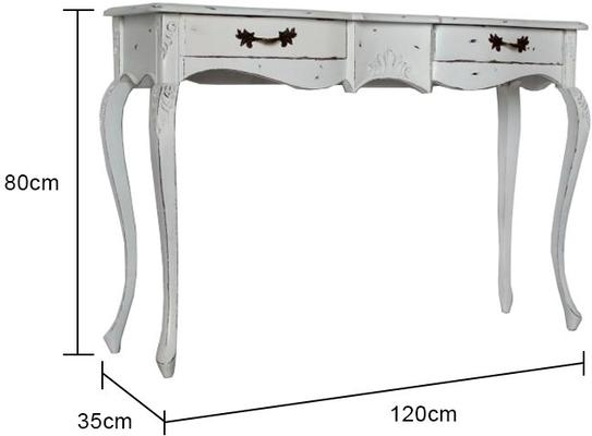 Ripple French Two Drawer Console / Dressing Table in Antique White image 5