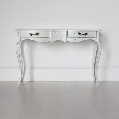 Ripple French Two Drawer Console / Dressing Table in Antique White