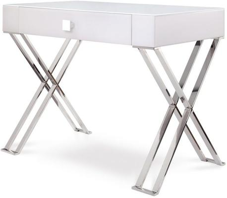 Richmond White Glass/Polished Stainless Steel Dressing/Console Table