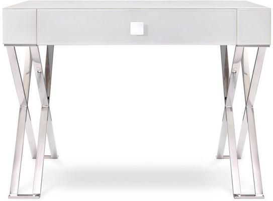 Richmond White Glass/Polished Stainless Steel Dressing/Console Table image 2