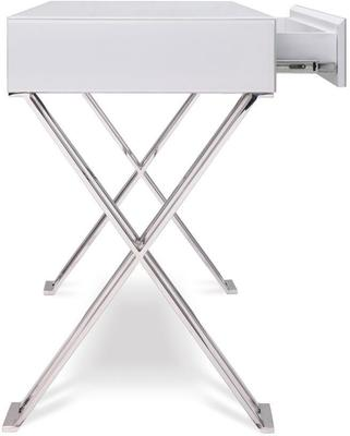 Richmond White Glass/Polished Stainless Steel Dressing/Console Table image 3