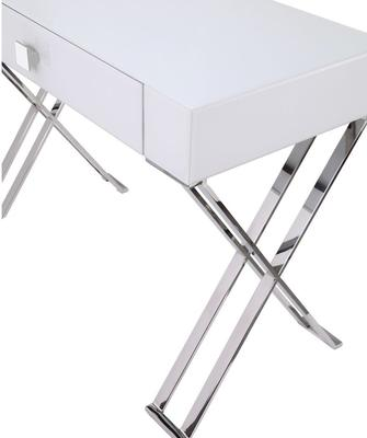 Richmond White Glass/Polished Stainless Steel Dressing/Console Table image 4
