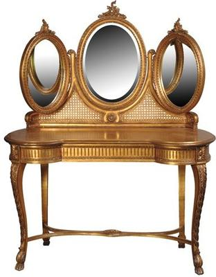 Triple Mirror Dressing Table in Gold image 2