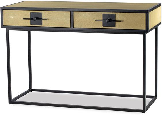 Noma 9 Beige Shagreen and Dark Wood Dressing Table