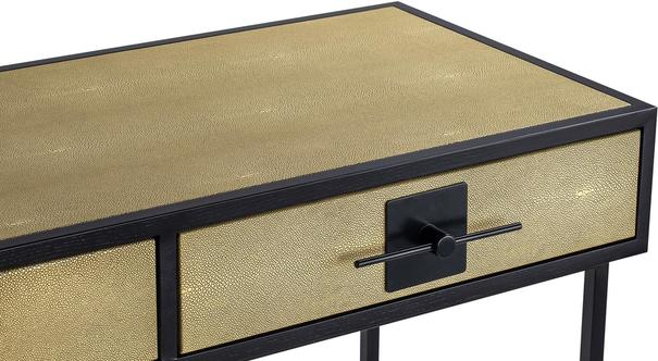 Noma 9 Beige Shagreen and Dark Wood Dressing Table image 3