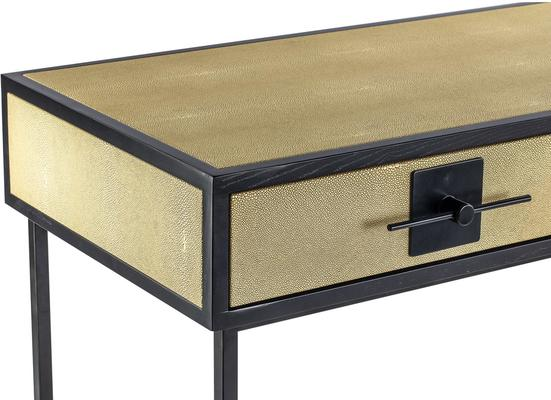 Noma 9 Beige Shagreen and Dark Wood Dressing Table image 4