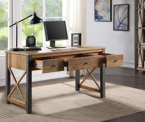 Urban Elegance Home Office Desk / Dressing Table Reclaimed Wood and Aluminium image 2