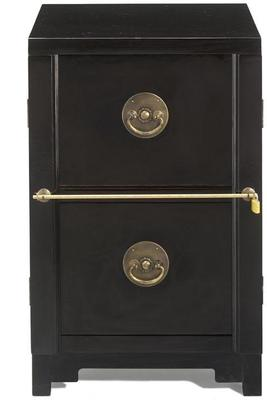 Two Drawer Filing Cabinet, Black Lacquer image 2