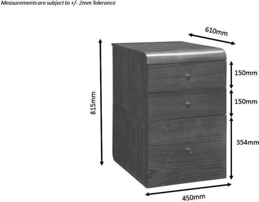 Jual Retro 3 Drawer High Cabinet for Desks PC605 - Walnut image 3