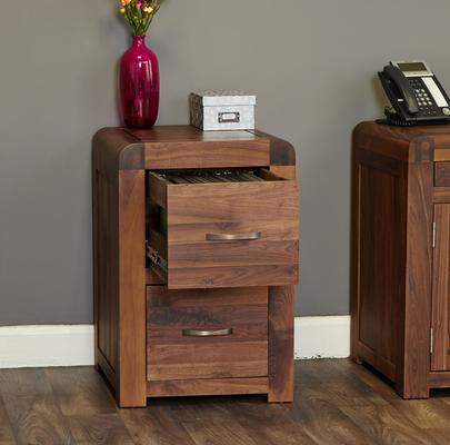 Shiro Walnut 2 Drawer Filing Cabinet