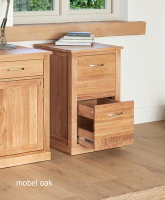 Mobel Solid Oak Modern Filing Cabinet Two Drawer