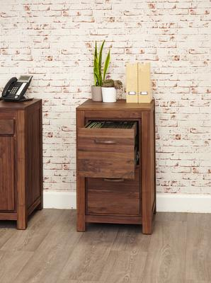 Mayan Walnut 2 Drawer Filing Cabinet Rustic image 3