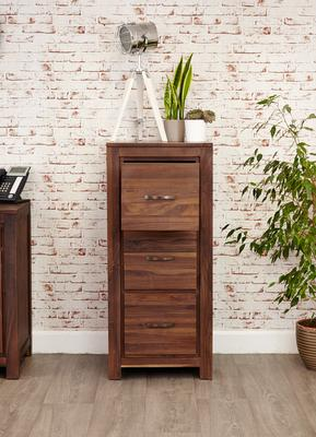 Mayan Walnut 3 Drawer Filing Cabinet Rustic Design image 2