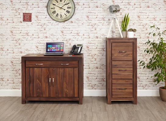 Mayan Walnut 3 Drawer Filing Cabinet Rustic Design image 5