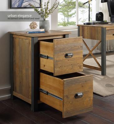 Urban Elegance Two Drawer Filing Cabinet Reclaimed Wood and Aluminium image 2