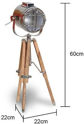 Small Spotlight Tripod Lamp with Pine Legs image 2