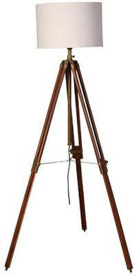 Wooden Tripod Lamp Brass with White Shade