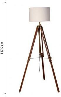Wooden Tripod Lamp Brass with White Shade image 2