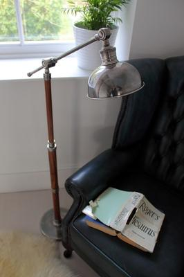 Metal Floor Lamp Teak and Steel
