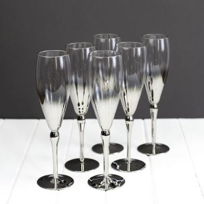 6 x Silver Plated Champagne Flutes