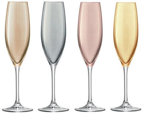 LSA Set of 4  Polka Champagne Glasses - Metallic