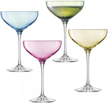 LSA Polka Champagne Saucers - Pastels - Set of 4