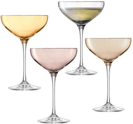 LSA Polka Champagne Saucers - Metallic - Set of 4