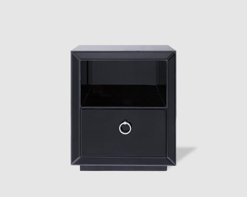 Ebnoy Black Glass One Drawer Bedside Table