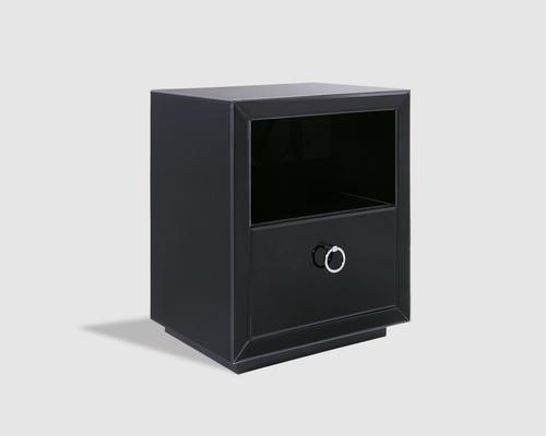 Ebnoy Black Glass One Drawer Bedside Table image 2