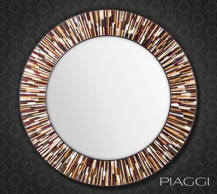 Roulette PIAGGI brown glass mosaic round mirror