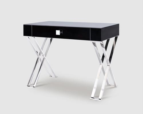 Richmond Black Glass/Polished Stainless Steel Dressing/Console Table