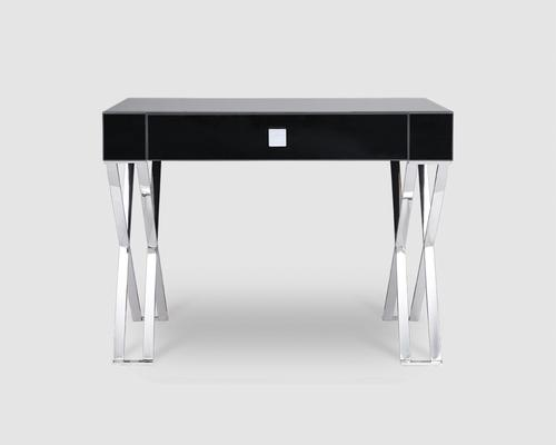 Richmond Black Glass/Polished Stainless Steel Dressing/Console Table image 2