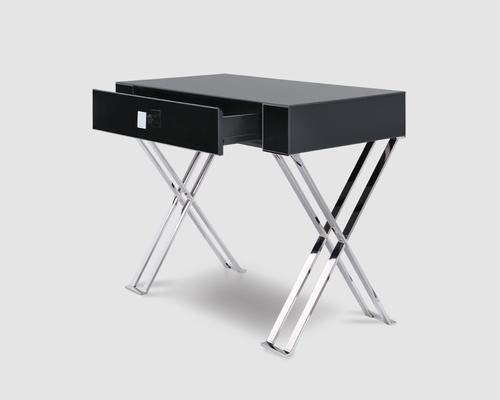 Richmod Black Glass/Polished Stainless Steel Dressing/Console Table image 3