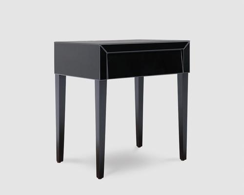 Pure Black Glass/Black Painted Legs Beside Table