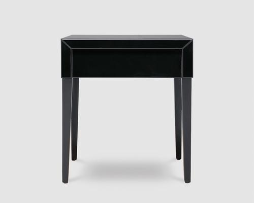 Pure Black Glass/Black Painted Legs Beside Table image 2