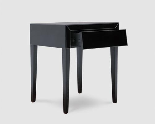 Pure Black Glass/Black Painted Legs Beside Table image 3