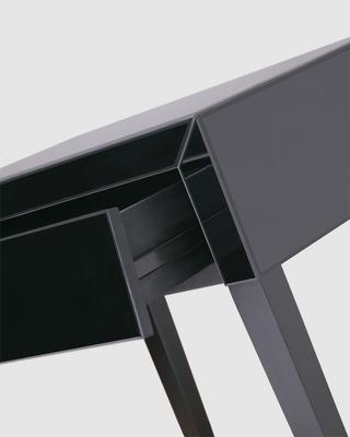 Pure Black Glass/Black Painted Legs Beside Table image 5
