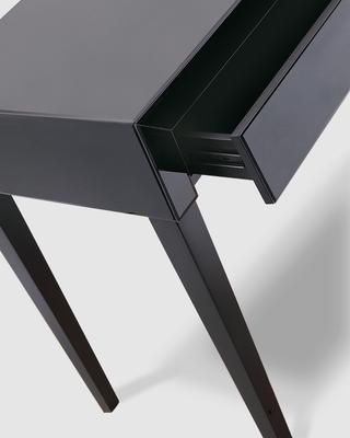 Pure Black Glass/Black Painted Legs Console Table image 4