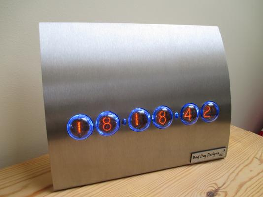 Contemporary Stainless Steel Nixie Clock - Blue Edition