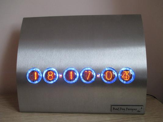 Contemporary Stainless Steel Nixie Clock - Blue Edition image 2