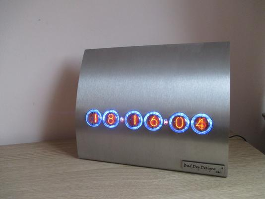 Contemporary Stainless Steel Nixie Clock - Blue Edition image 4