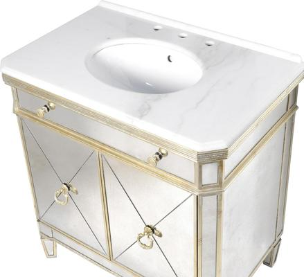 Venetian Mirrored Vanity Unit Antique Gold image 3