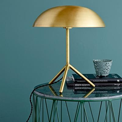 Tripod Domed Tablelamp with Brushed Gold Finish