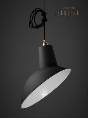 NL Reserve Industrial Angled Cloche Lamp Shade - Matte Black