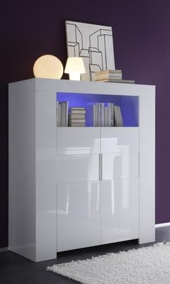 Fano High Sideboard White Gloss Lacquered with LED Spotlight