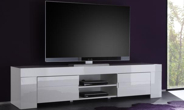 Fano Long TV Unit - Gloss White Finish