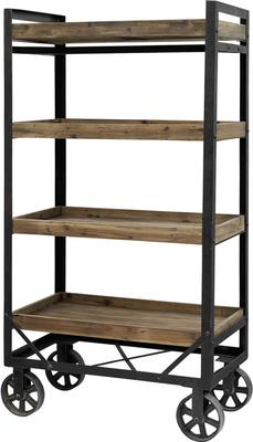 Tall Iron and Wood Trolley Industrial Design