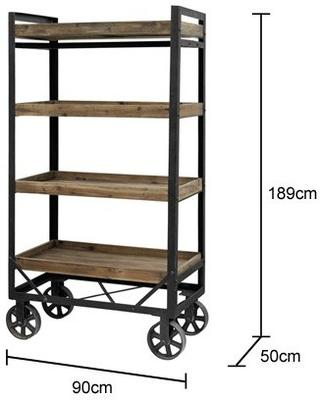 Tall Iron and Wood Trolley Industrial Design image 2